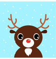 Cute christmas cartoon Deer on blue background vector image