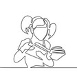 girl reading book back to school concept vector image
