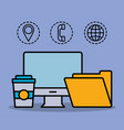 office and business related icons vector image