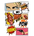 Pop art Card with comic symbols vector image