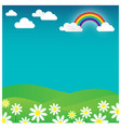 rainbow landscape with flowers and cloud vector image