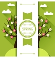 Seasonal with spring tree in flat vector image