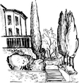 urban sketch house in the park vector image