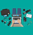 workspace of freelance photographer vector image