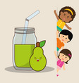 children and pear juice fresh vector image