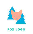 stylised logo mascot fox in woods vector image