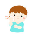 little boy having toothache cartoon vector image