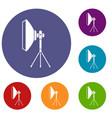 studio lighting equipment icons set vector image