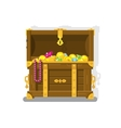 Treasure chest with gold coins vector image