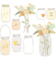 Vintage Wedding Flowers with Mason Jar vector image
