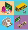 four isometric web concepts a school board vector image