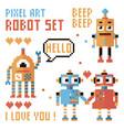 set of pixel robots words hearts vector image