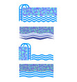 set of swimming pool icon water logo vector image
