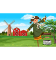 Scarecrow in the farm field vector image