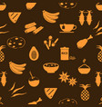 indian food theme set of simple icons seamless vector image