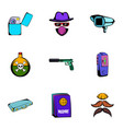 thief icons set cartoon style vector image