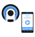 smartphone app for control of robot vacuum cleaner vector image
