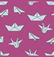 origami seamless pattern with origami figures on vector image