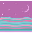 Sea Ocean water with blue pink waves violet sky vector image