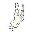 comic cartoon zombie hand making rock symbol vector image