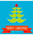 Christmas tree made from mustaches vector image