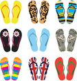 Color flip flops isolated on white vector image