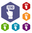 email communication concept icons set hexagon vector image