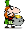 Leprechaun with gold cartoon vector image
