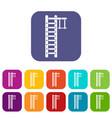 swedish ladder icons set vector image