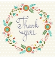 Thank you card with floral wreath vector image