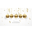 Golden Christmas balls and confetti vector image vector image