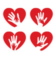 set of icons with hands and hearts vector image vector image
