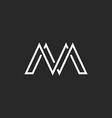 M monogram letter logo crossing thin line black vector image