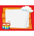 Frame design with drum and clouds vector image