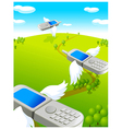 Flying cell phones vector image