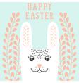 Happy bunny face rabbit head in floral wreath vector image
