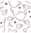 Seamless pattern with hand drawn tea cup and vector image