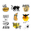set of posters with pumpkins for halloween vector image