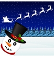 Snowman in the forest holiday vector image