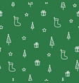 winter tree and sock green doodle seamless pattern vector image