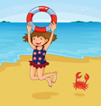 girl at beach vector image vector image
