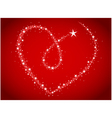love bright stars in heart shape vector image