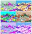 Toxic Hallucination Colors Ocean Waves Set vector image