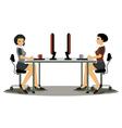 Women employees working vector image vector image