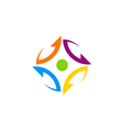 circle arrow colorful abstract technology logo vector image
