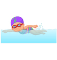 Cartoon little girl swimmer in the swimming pool vector image