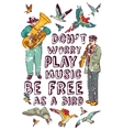 Freedom music happy people and isolate on white vector image