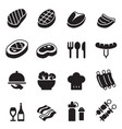 basic steak icons set vector image