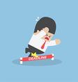 Businessman stumbling on deadline rope vector image