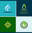 eco water drop logos vector image